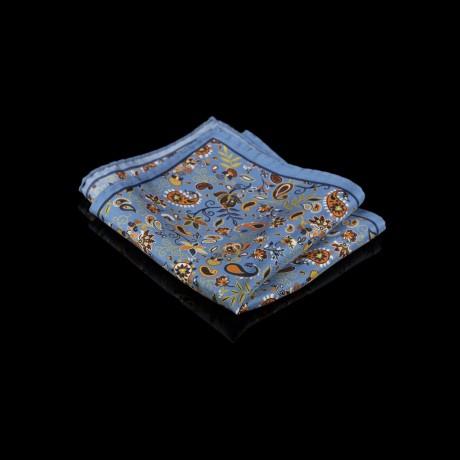 Mėlyna šilkinė fantazija su paisley ir gėlių raštais