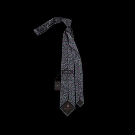 Prabangus žalias rankų darbo šilkinis kaklaraištis LANVIN
