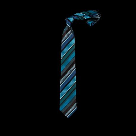 Prabangus mėlynas dryžuotas kaklaraištis
