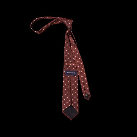 Burgundy spalvos rankų darbo šilkinis kaklaraištis su žirnelių raštu
