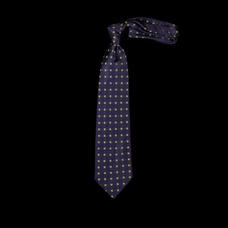 Mėlynas šilkintis prailgintas ir praplatintas kaklaraištis