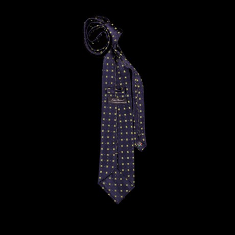 Mėlynas šilkinis prailgintas ir praplatintas kaklaraištis