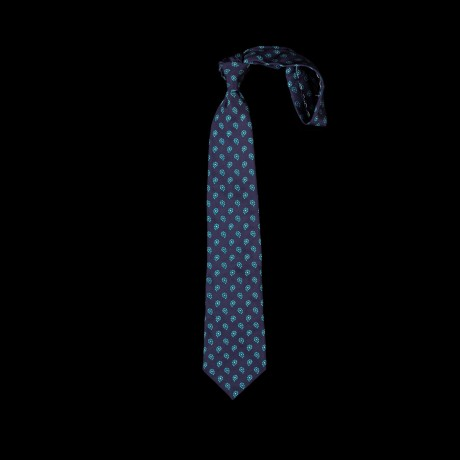 Mėlynas šilkinis prailgintas ir praplatintas kaklaraištis su paisley raštu