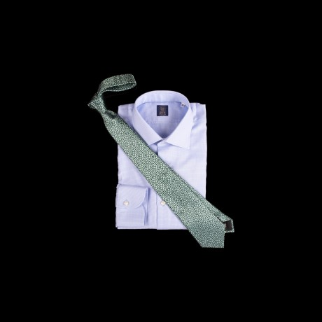 Prabangus žalias šilkinis kaklaraištis su gėlių ornamentu LANVIN