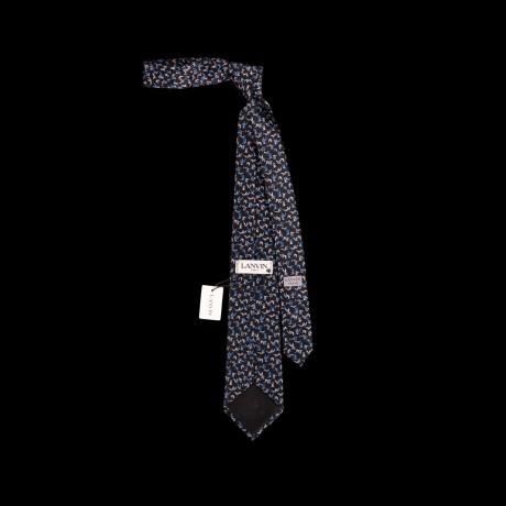 Prabangus juodas šilkinis kaklaraištis su paukščių ornamentu LANVIN