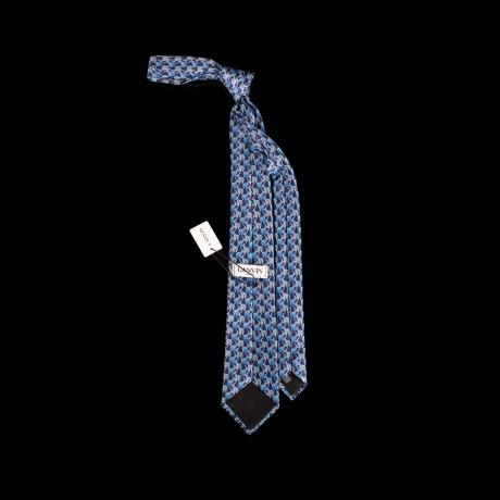 Prabangus mėlynas šilkinis kaklaraištis su drambliukų ornamentu LANVIN