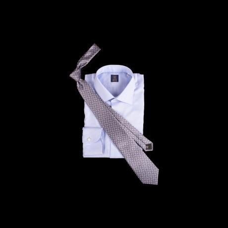 Prabangus pilkas šilkinis kaklaraištis su ornamentu LANVIN