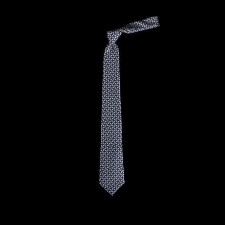Prabangus mėlynas šilkinis kaklaraištis su moderniu ornamentu LANVIN