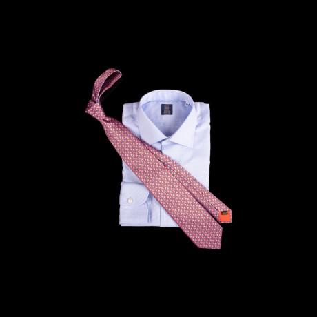 Prabangus raudonas rankų darbo šešių klosčių šilkinis kaklaraištis ZILLI