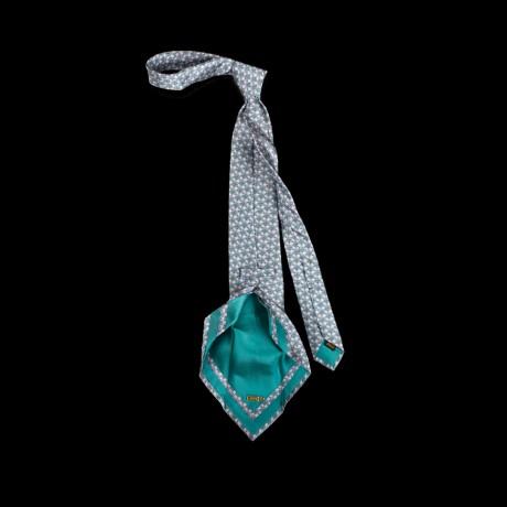 Prabangus žalias rankų darbo šešių klosčių šilkinis kaklaraištis ZILLI