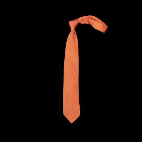 Oranžinis šešių klosčių (six-fold) kaklaraištis su ornamentu
