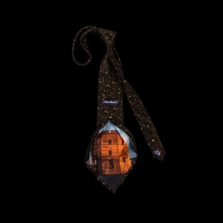 Prabangus juodas kaklaraištis su Gedimino bokšto atvaizdu