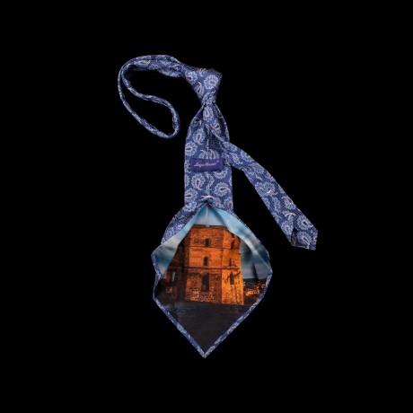 Prabangus mėlynas kaklaraištis su Gedimino bokšto atvaizdu