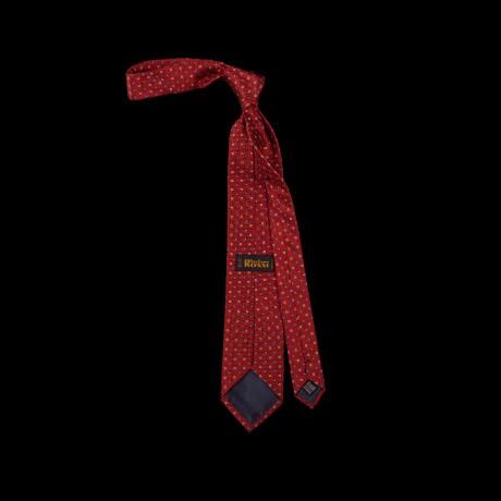 Raudonas šilkinis kaklaraištis su ornamentu
