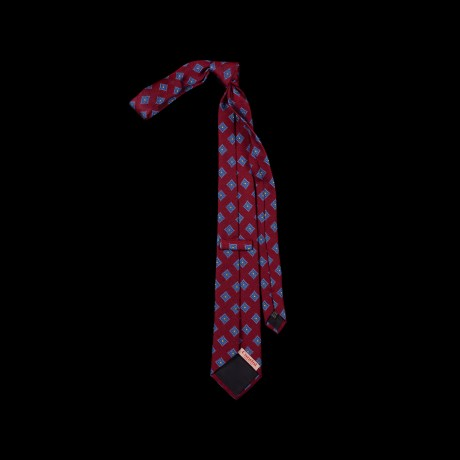 Burgundy spalvos šilkinis kaklaraištis su ornamentu