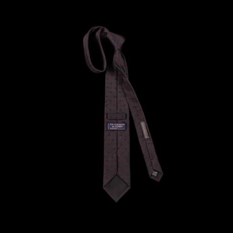 Grafito spalvos šilkinis kaklaraištis su ornamentu