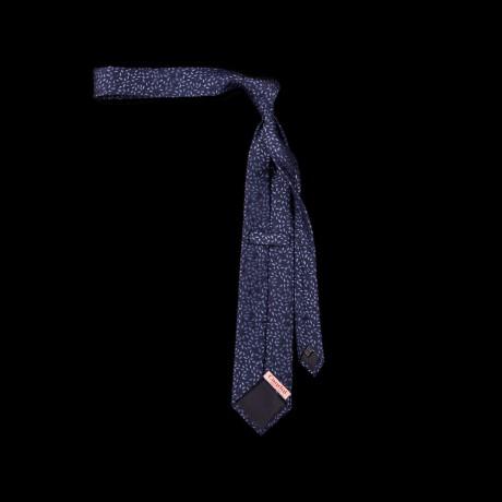 Mėlynas šilkinis kaklaraištis su ornamentu