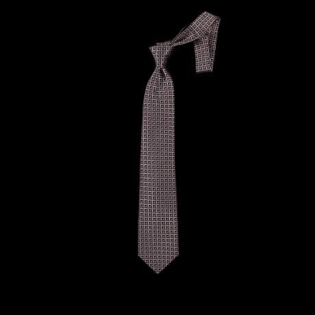 Pilkas šešių klosčių (six-fold) kaklaraištis su ornamentu
