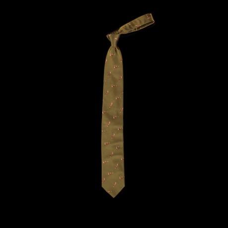 Žalias šilkinis kaklaraištis su lapėmis