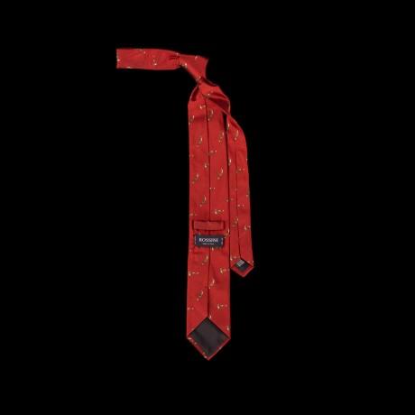 Raudonas šilkinis kaklaraištis su lapėmis