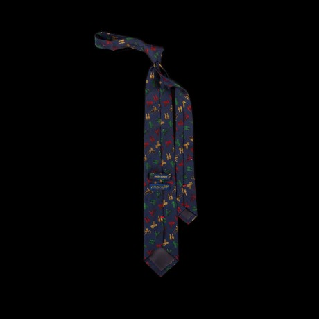 Mėlynas šilkinis kaklaraištis su dviratininkais