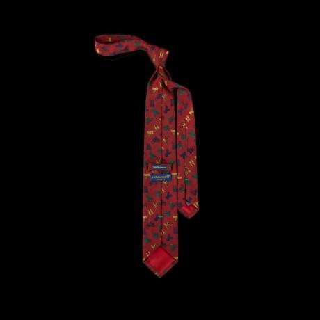 Raudonas šilkinis kaklaraištis su dviratininkais