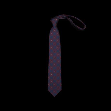 Prabangus mėlynas medalionų rašto kaklaraištis