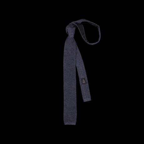 Mėlynas taškuotas megztas kaklaraištis