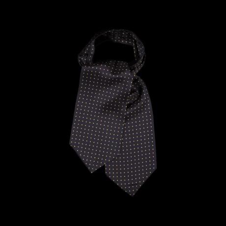 Juoda šilkinė kaklaskarė su geltonos spalvos taškeliais