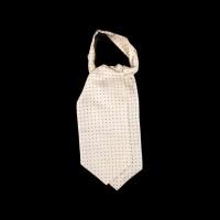 Pieno baltumo šilkinė kaklaskarė su juodais taškeliais