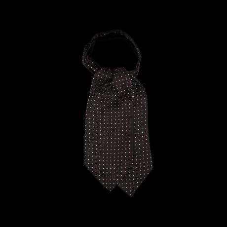 Juoda šilkinė kaklaskarė su baltos spalvos taškeliais