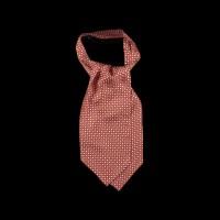 Oranžinė šilkinė kaklaskarė su moderniu ornamentu