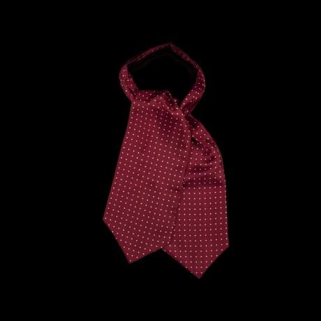 Burgundy spalvos klasikinė kaklaskarė su baltais taškeliais