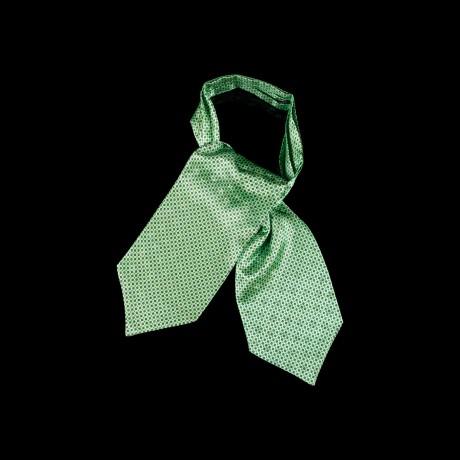Žalia šilkinė kaklaskarė su smulkiu ornamentu