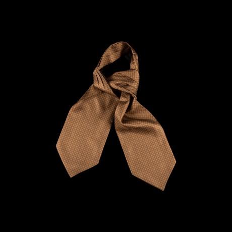 Ruda šilkinė kaklaskarė su klasikiniu ornamentu