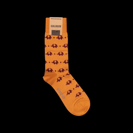 Oranžinės vyriškos kojinės su drambliukais