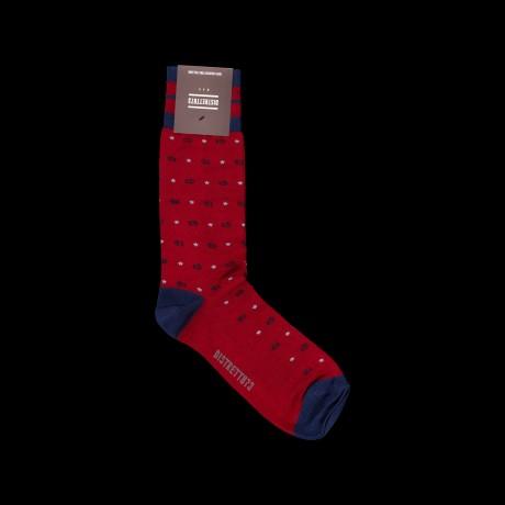 Raudonos vyriškos kojinės su žuvytėmis