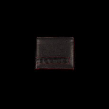 Odinė juoda piniginė su raudonu apvadu