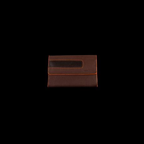Maža ruda odinė piniginė su apvadu