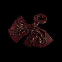 Lengvas šiltas raudonas šalikas su ornamentu