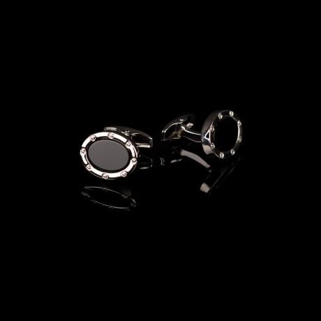 Klasikinės juodos ovalo formos sąsagos